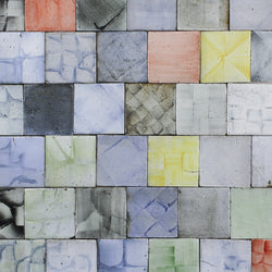 Chunky square tile Hand painted colours on matt
