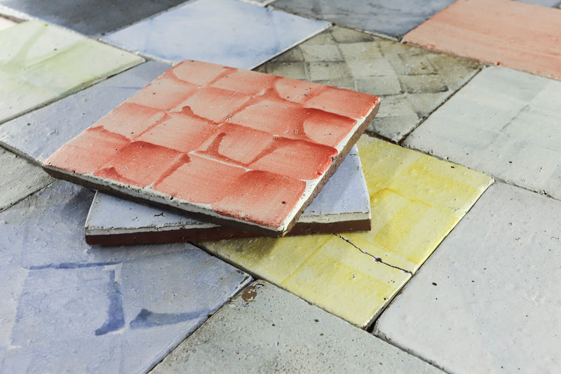 Hand painted colours on chunky matt tile