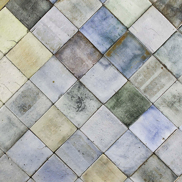 Colour washes on chunky matt square tile