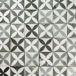 Chunky square tile black petal pattern on matt white