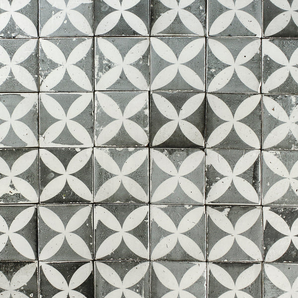 Black and white petal pattern matt tile