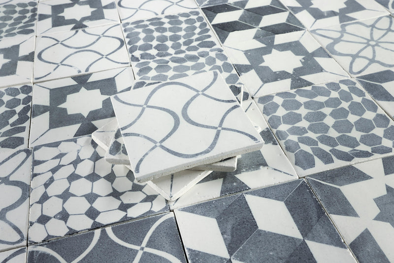 Matt White Handmade Tile black patterns