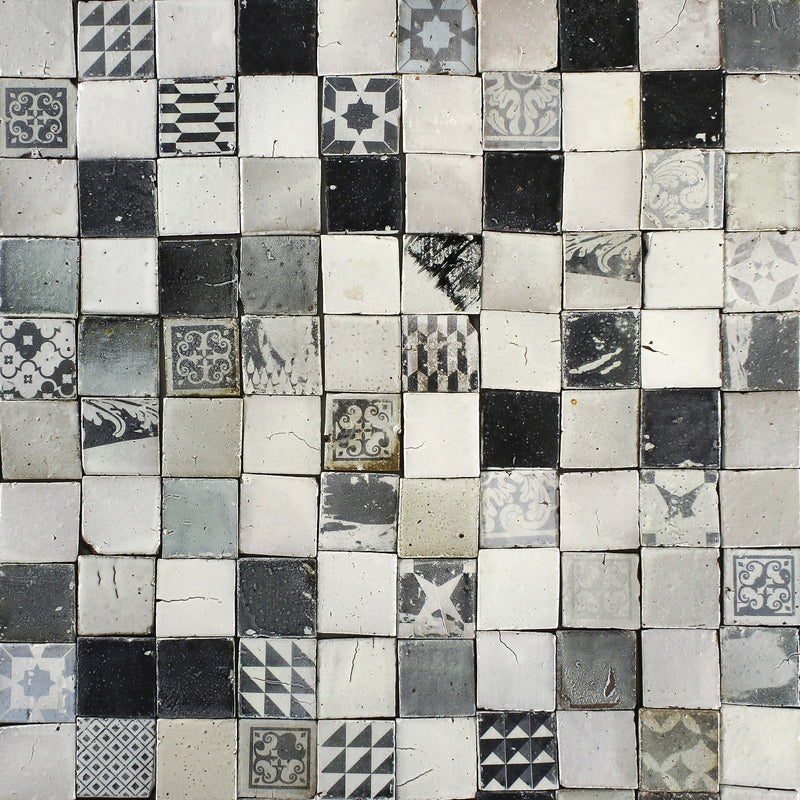 Chunky square tile Black patterns on matt white