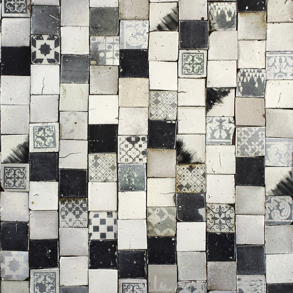 Black and white pattern matt tile