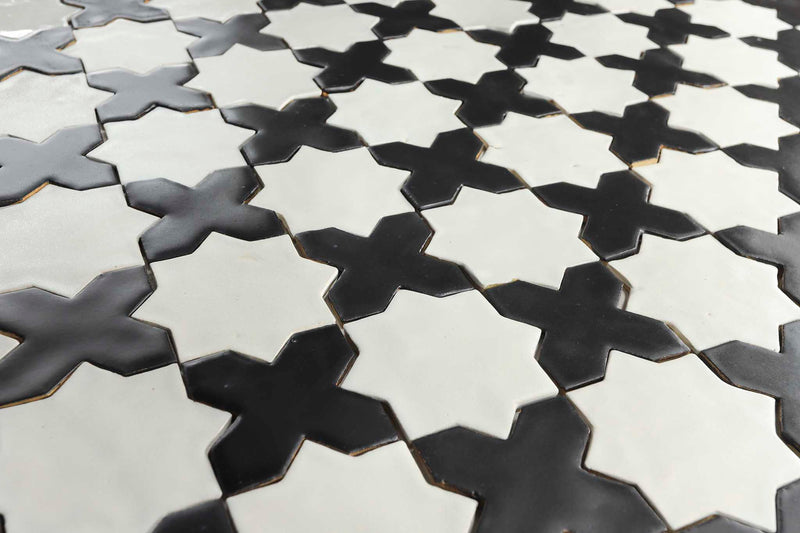 Handmade Star and Cross tiles black and white