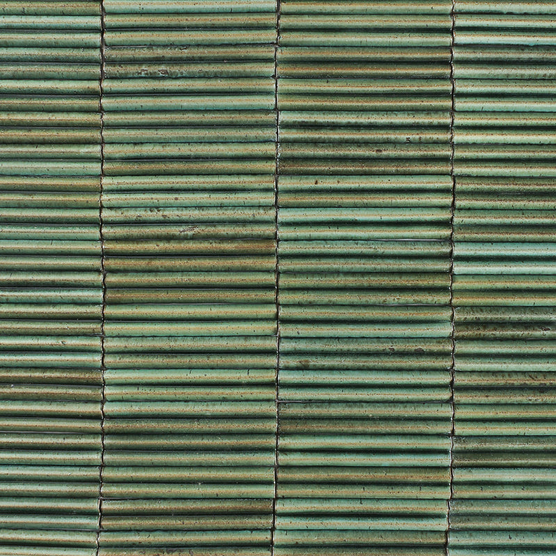 Rectangular 3D W Tile Glassy Green