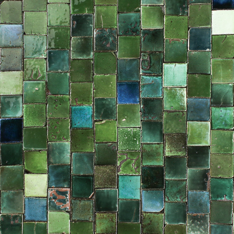 Chunky square tile glassy green blend