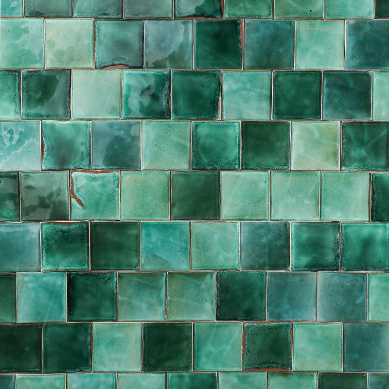 Green glazed hand made tile