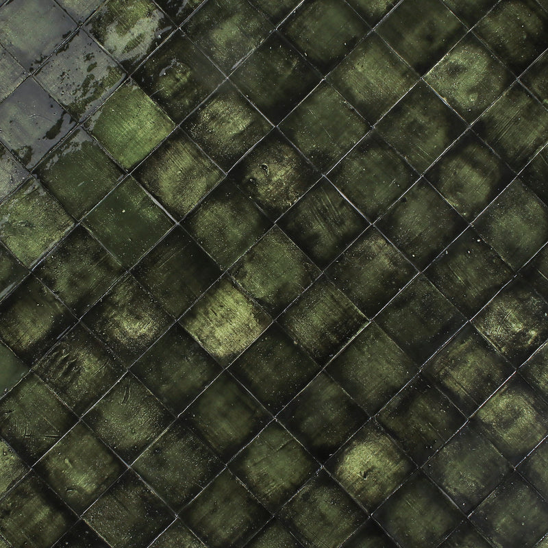 Blackened Green Glazed Handmade Tile