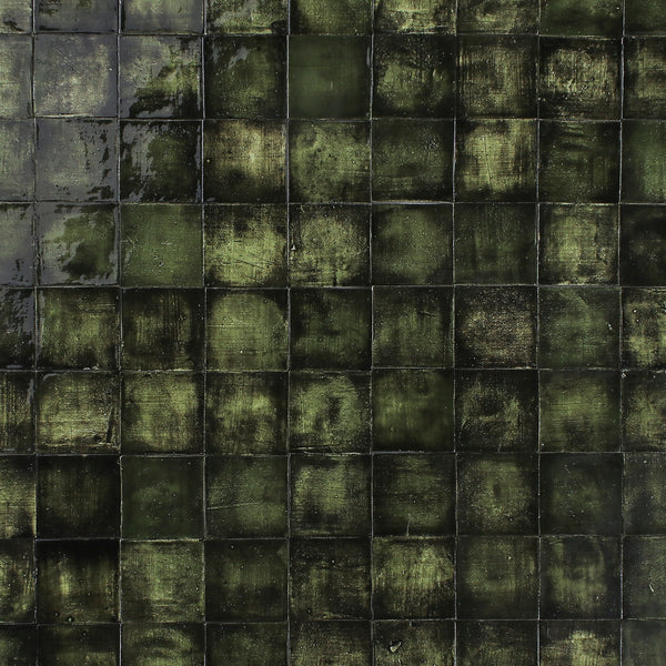 Square Handmade tile Blackened Green Glaze