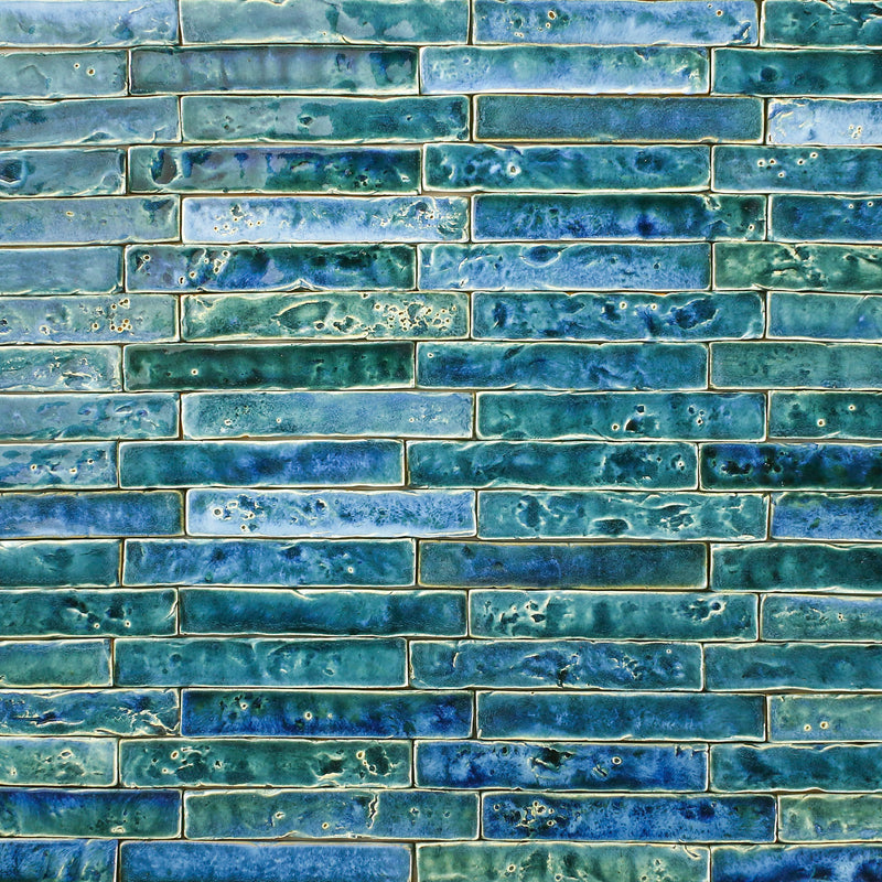 Pitted hand made rectangle tile Aqua Blues