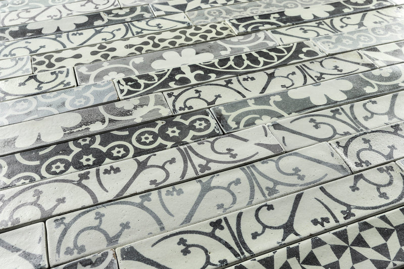 Hand made rectangular tile black and grey printed design on matt