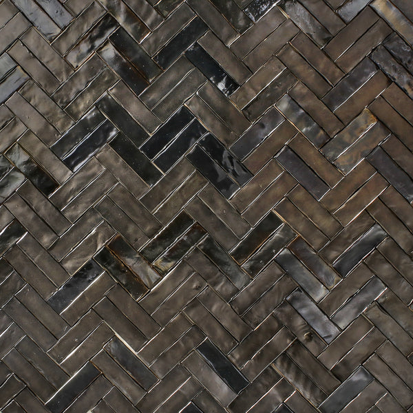 Rectangular Klompie Tile Metallic bronze matt and gloss