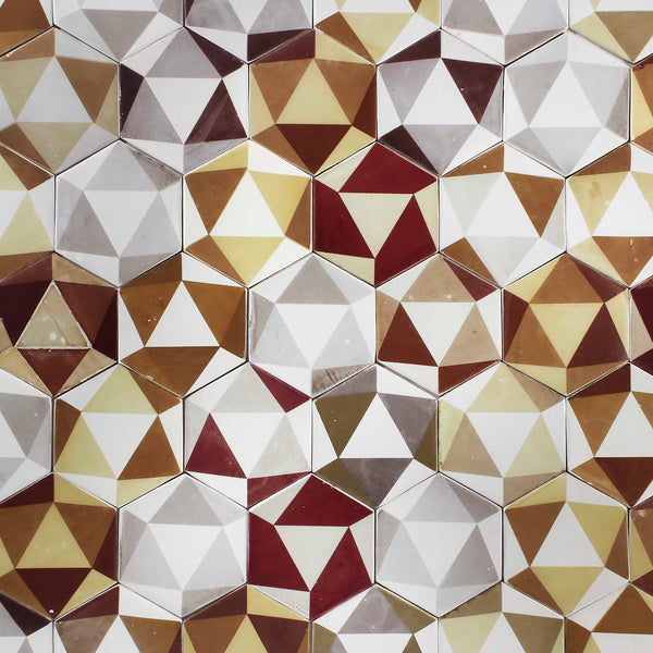 Hexagon Geometric Pattern Matt White Tile