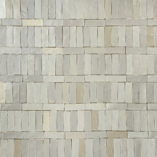 Rectangular Klompie Tile Linen Cream and Grey Glazes