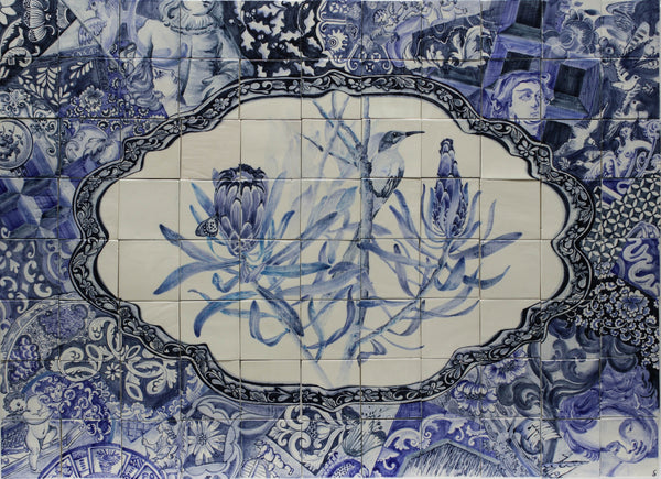 HAND PAINTED BLUE FYNBOS AND DELFT MURAL