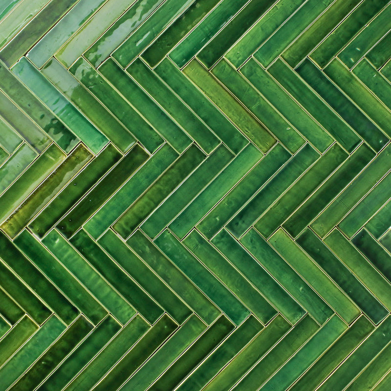 Rectangular Tile Glassy Green Blend