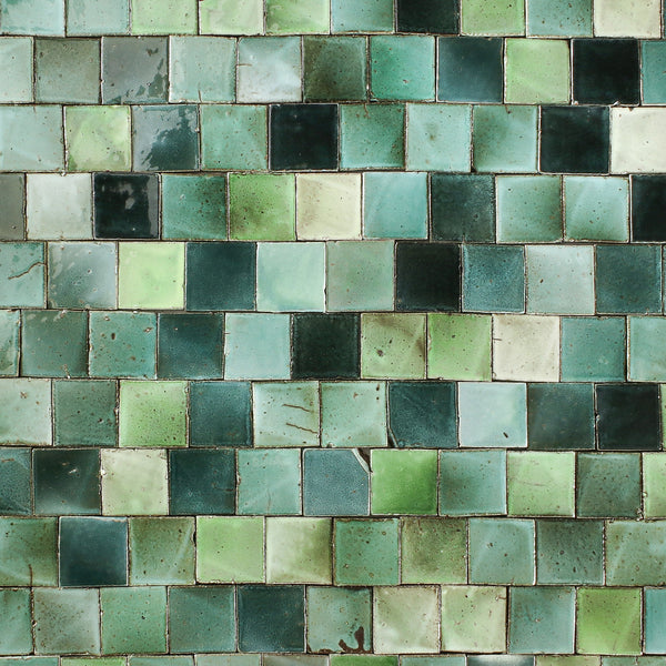 Square Chunky Tile Gloss Greens