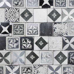 Square Chunky Tile Black and white patterns matt glaze