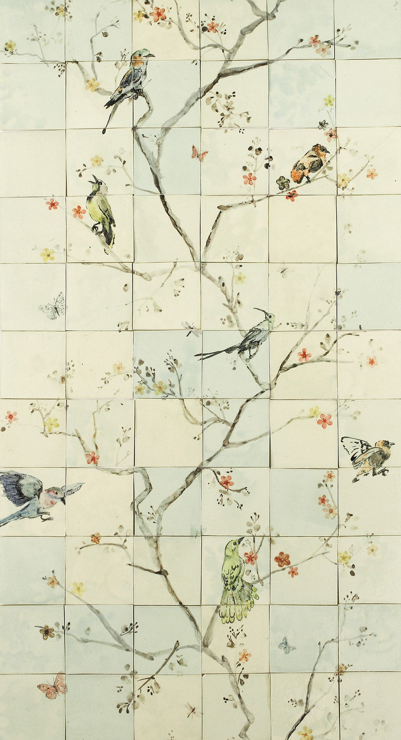 HAND PAINTED BIRDS ON BRANCH TILE MURAL