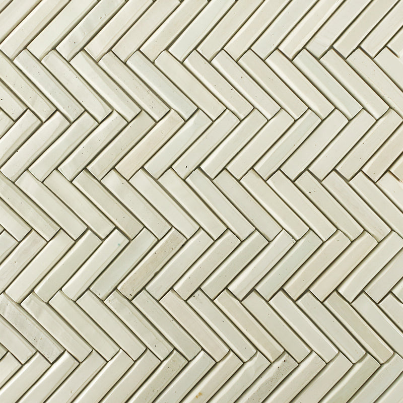 Light Marble Faceted Top Pipe Tile Warm White
