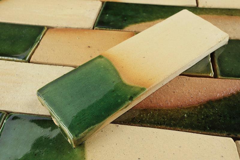 Pascalli Rectangular Tile Bottle Green Partial Glaze