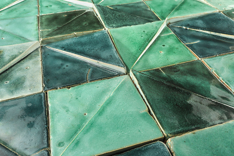 Square split surface 3D Tile Glassy green