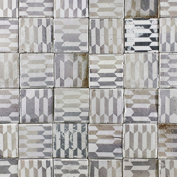 Black and white geometric pattern matt tile