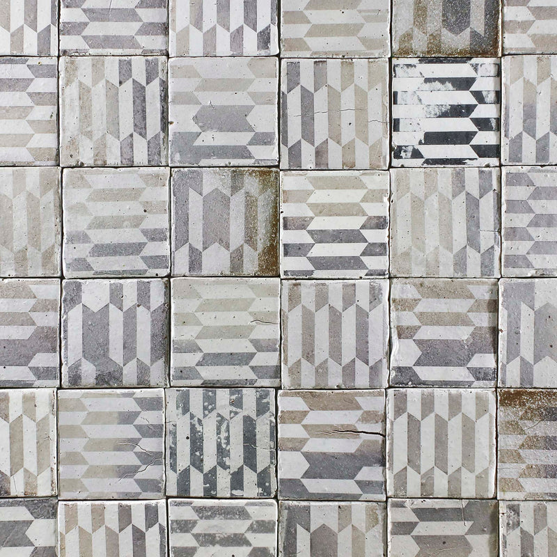 Chunky square tile black geometric pattern on matt white