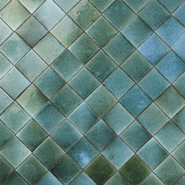 Hand made Square Tile aqua green glaze