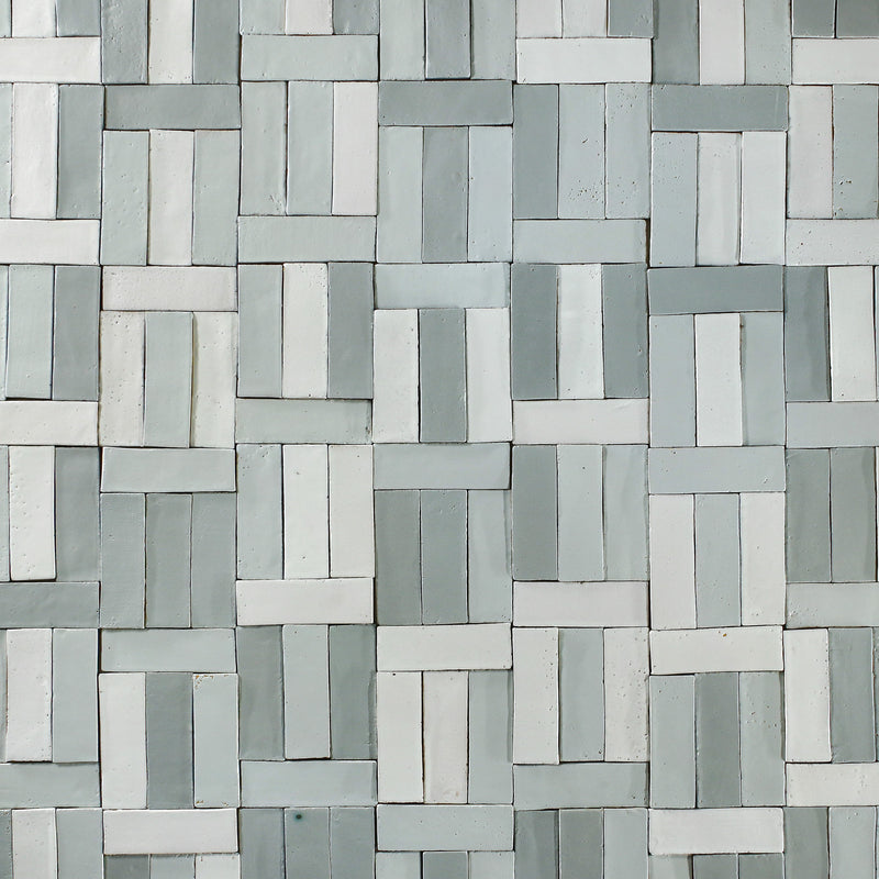 Rectangular Klompie Tile Satin Matt Greys