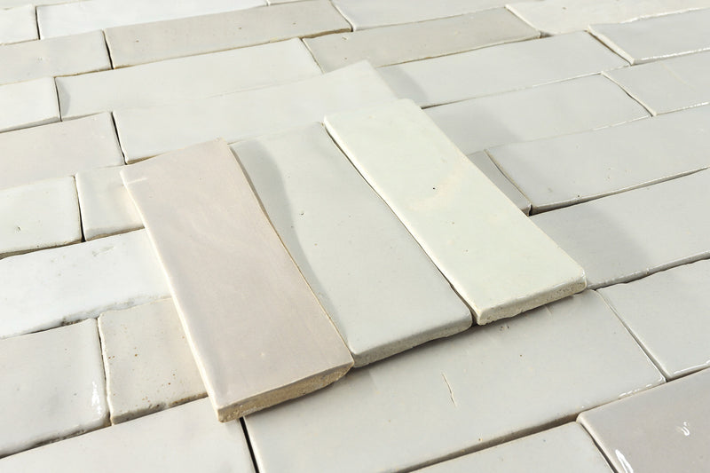 Rectangular Klompie Tile warm and cool white Glazes