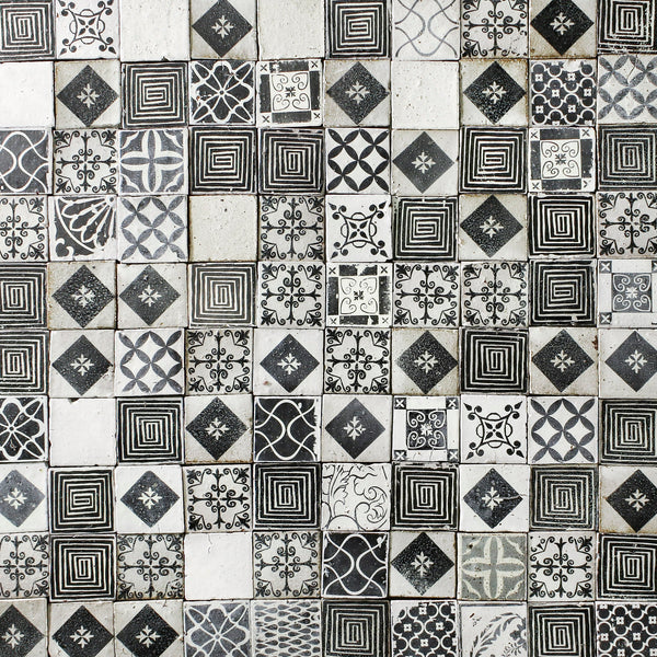Black and white assorted pattern matt tile