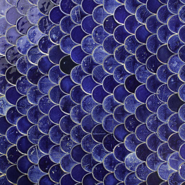 Fish Scale Tile blue glaze