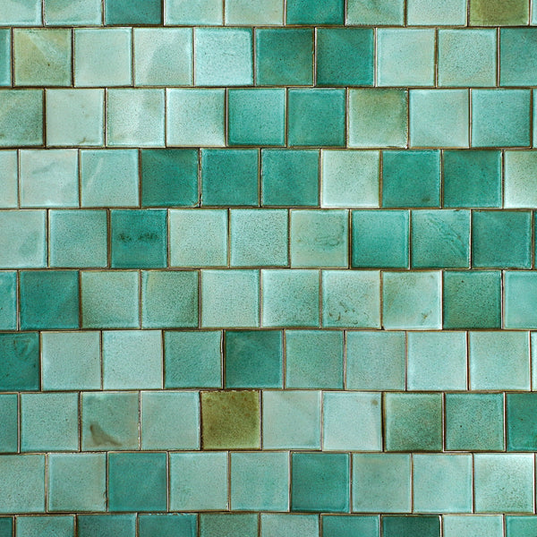 Hand Made Square Tile Green Glaze