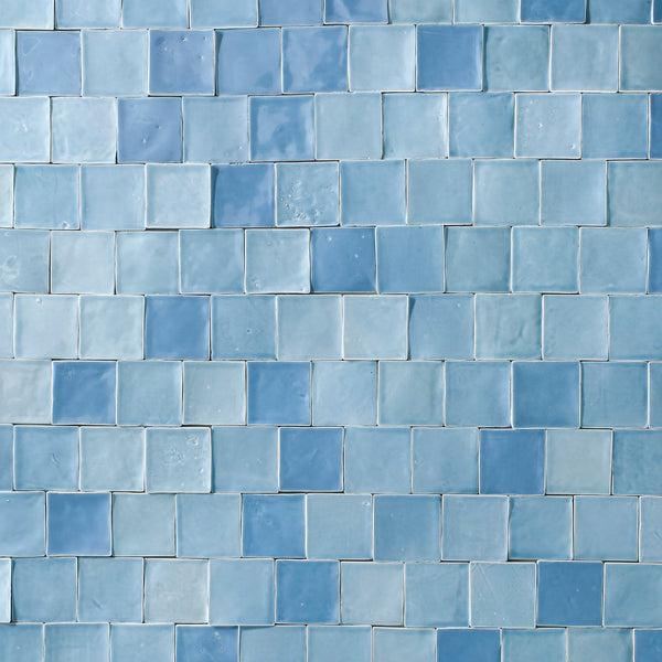 Blend of sky blue handmade square tiles