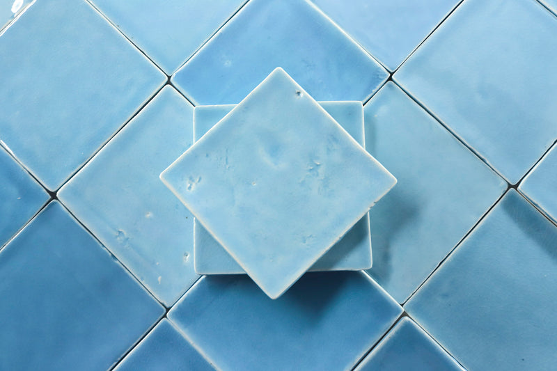 Blend of sky blue square tiles
