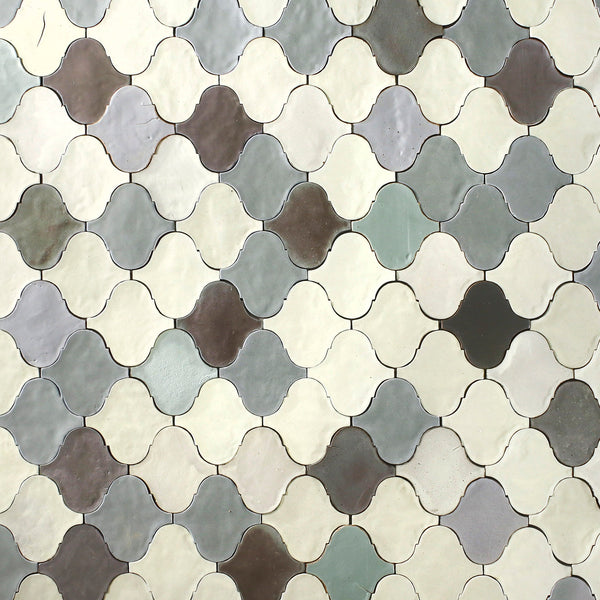 Hand made lantern tile, satin matt cream, grey and charcoal.