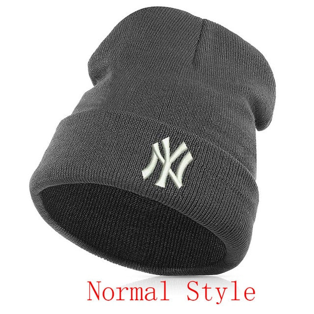 8e547c34fa3 Luminous embroidery Unisex Casual Letter New York knitted Warm Hiphop  Beanie Skullies Winter Fashion Hats for