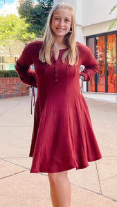 Brick Henley Long Sleeve Dress