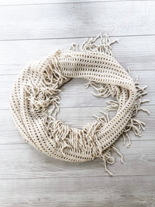 Cream Knit Fringed Infinity Scarf