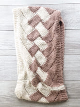 Load image into Gallery viewer, Mauve/Cream Twist Infinity Scarf