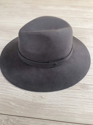 Charcoal Wide Brim Wool Hat