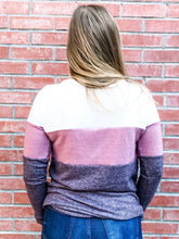 Load image into Gallery viewer, Plum/Ivory Color Block Hacci Pullover Back