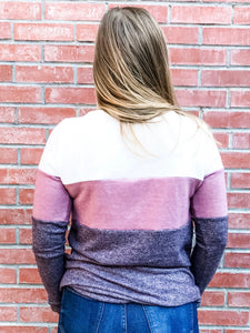 Plum/Ivory Color Block Hacci Pullover Back