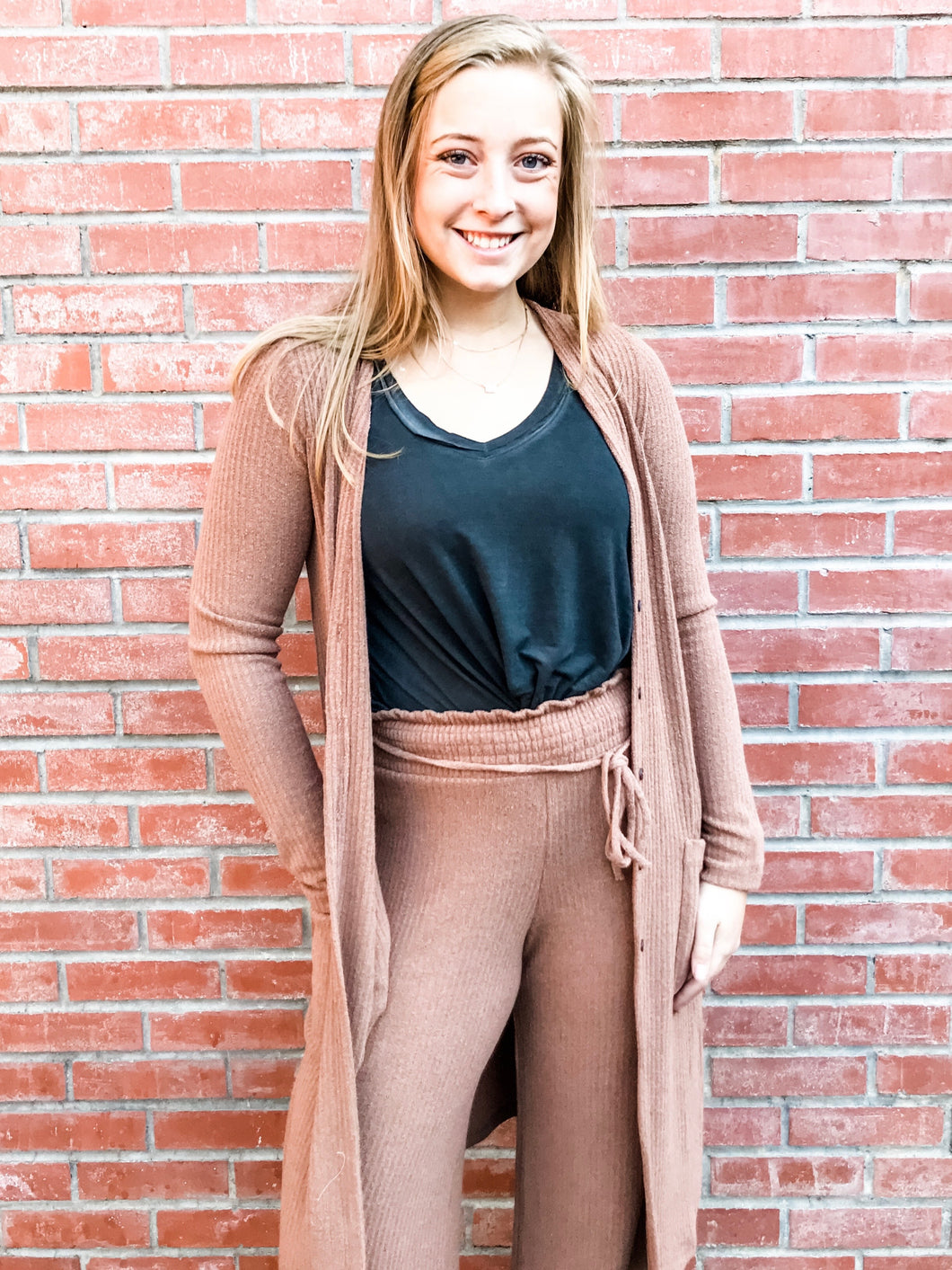 Taupe Ribbed Tunic Lounge Set Front