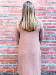 Taupe Ribbed Tunic Lounge Set Back