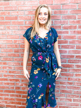 Load image into Gallery viewer, Teal Floral Short Sleeve Midi Dress Front