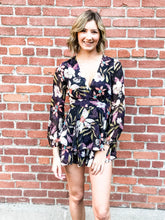Load image into Gallery viewer, Floral Flowy Black Romper Front