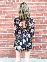 Load image into Gallery viewer, Floral Flowy Black Romper Back